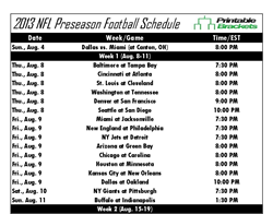 Printable Nfl Preseason Schedule Released As Start Of Regular Season