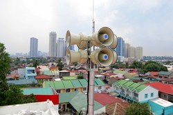View of roof-mounted ATI HPSS32 with Pasig City in the background