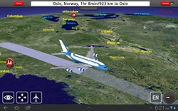 Example FlightPath3D Moving Map service display enroute from New York to Oslo displaying an demonstration aircraft livery.