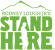 Green Stand Here Logo with Hiker