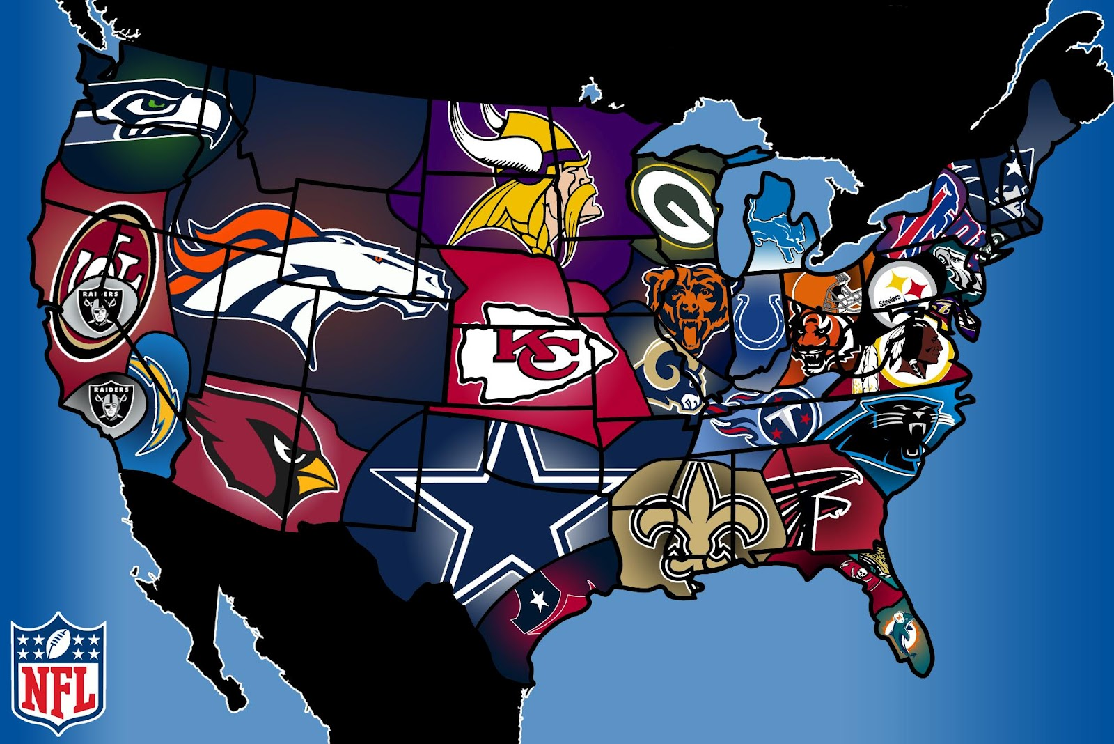 Heres Facebooks NFL Fandom Map Which NFL Team Are You Stuck - Map of us sports teams