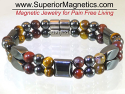 Magnetic Bracelet with Red and Yellow Tiger Eye