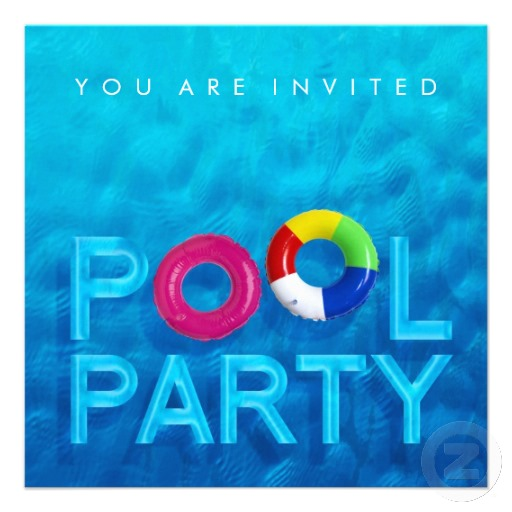 Atla homecoming red carpet pool party event Swimming pool birthday party invitations