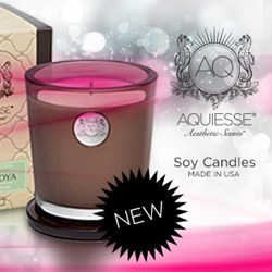 Aquiesse Soy Candle photo with New burst and Aquiesse Soy Candles logo