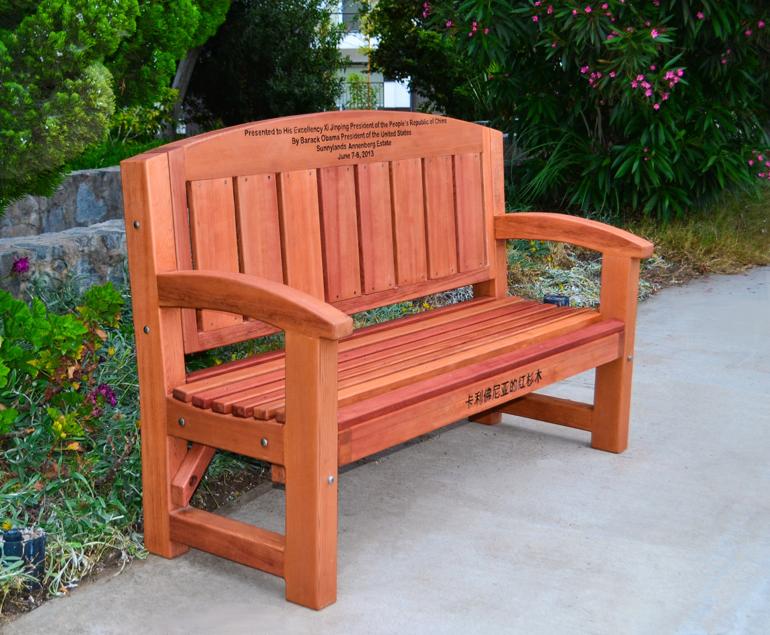 Forever Redwood Company Chosen To Manufacture A Bench From President Obama To Chinese President