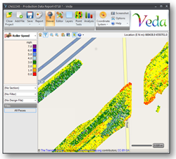 Veda 2.0 displaying millions of intelligent compaction data points over a geographical map. The different colors used indicate compaction progress.