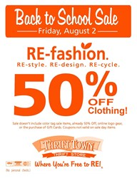 Thrift Town's Back To School Sale on August 2nd
