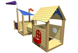 Wooden playhouse by Playground Imagineering