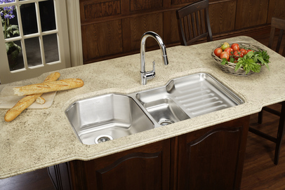 Elkay Eluh4221l Harmony Lustertone Stainless Steel 41 1 2 X 20 1 2 Double Basin Undermount Kitchen Sink With Right Primary Bowl