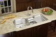 "elkay eluh4221l harmony lustertone stainless steel 41-1/2"" x 20-1/2"" double basin undermount kitchen sink with right primary bowl"