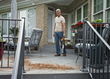 WORX 32V Blower/Sweeper clears porch of dirt and debris