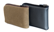 "Finn Wallet Textiles Choices—Tan Waxed Canvas with leather bottom and Silver ""Flash"" Nylon (Vegan)"