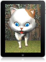 GeriJoy Companion Cat shown on a tablet