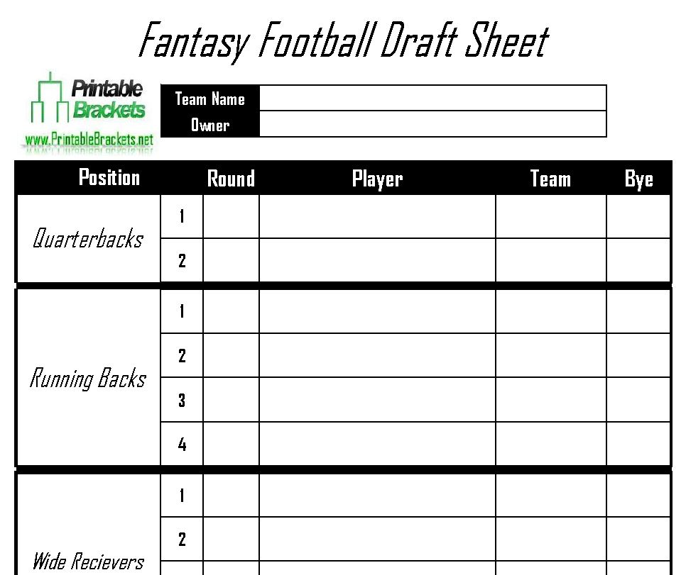 Influential image for fantasy football draft sheets printable blank