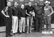 Left to Right: Amalie's Andrew Bornstein, Ken Holder, Denny Madden with the winner, Ryan Hagler, holding the prized helmet, Storm President Derrick Brooks and Michael Hagler.