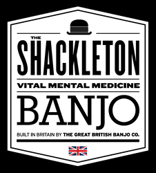 New visual identity of The Shackleton banjo from The Great British Banjo Company.