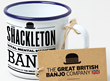 TEnamel mug with visual identity of The Shackleton banjo from The Great British Banjo Company.
