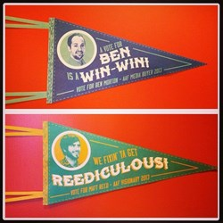 Pennants for the nominees.