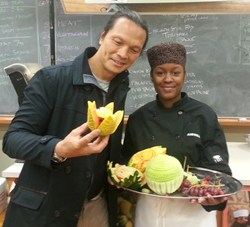 Susur Lee with My Food My Way Ambassador, Andrea Howe, at Thistletown Collegiate Institute.