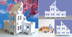 A 105 piece modular build-and-play dollhouse.