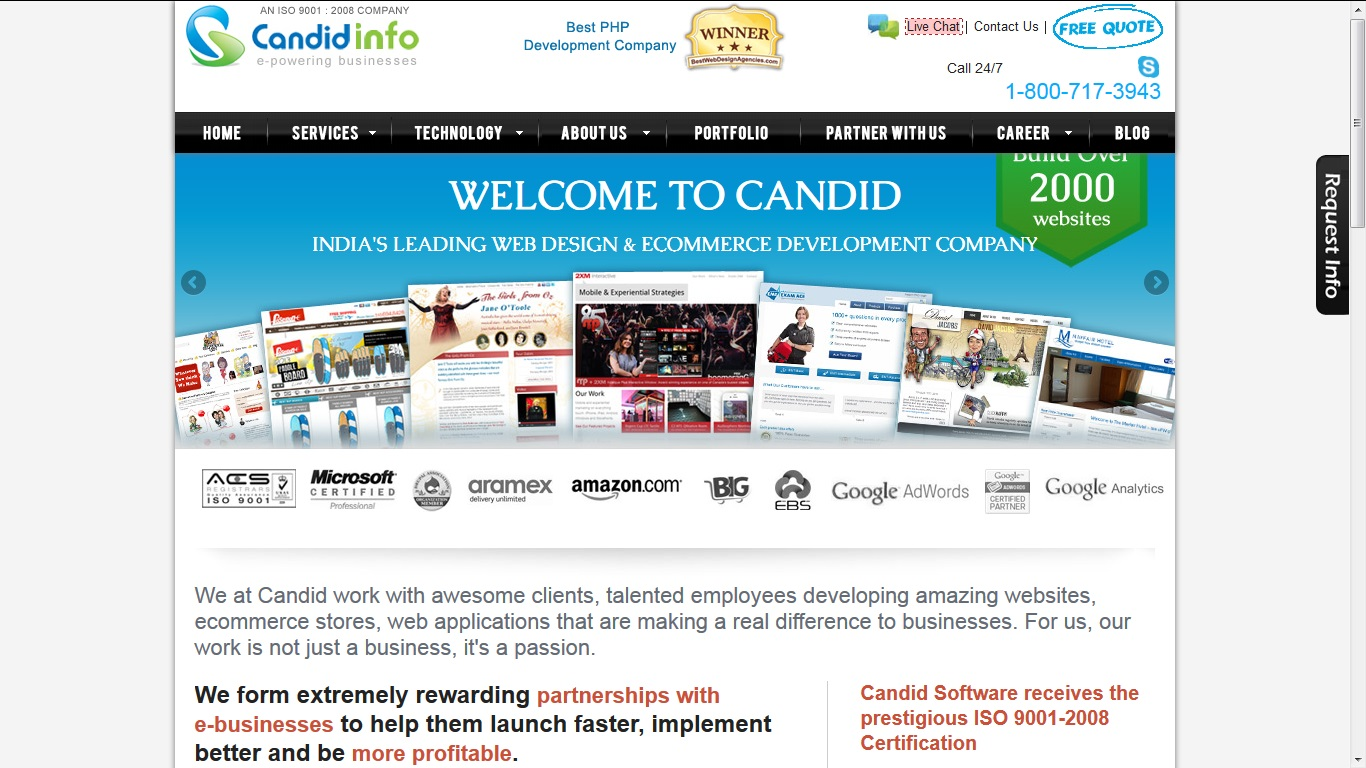 Candid Awarded Best E Commerce Design Company Of India For July 2013