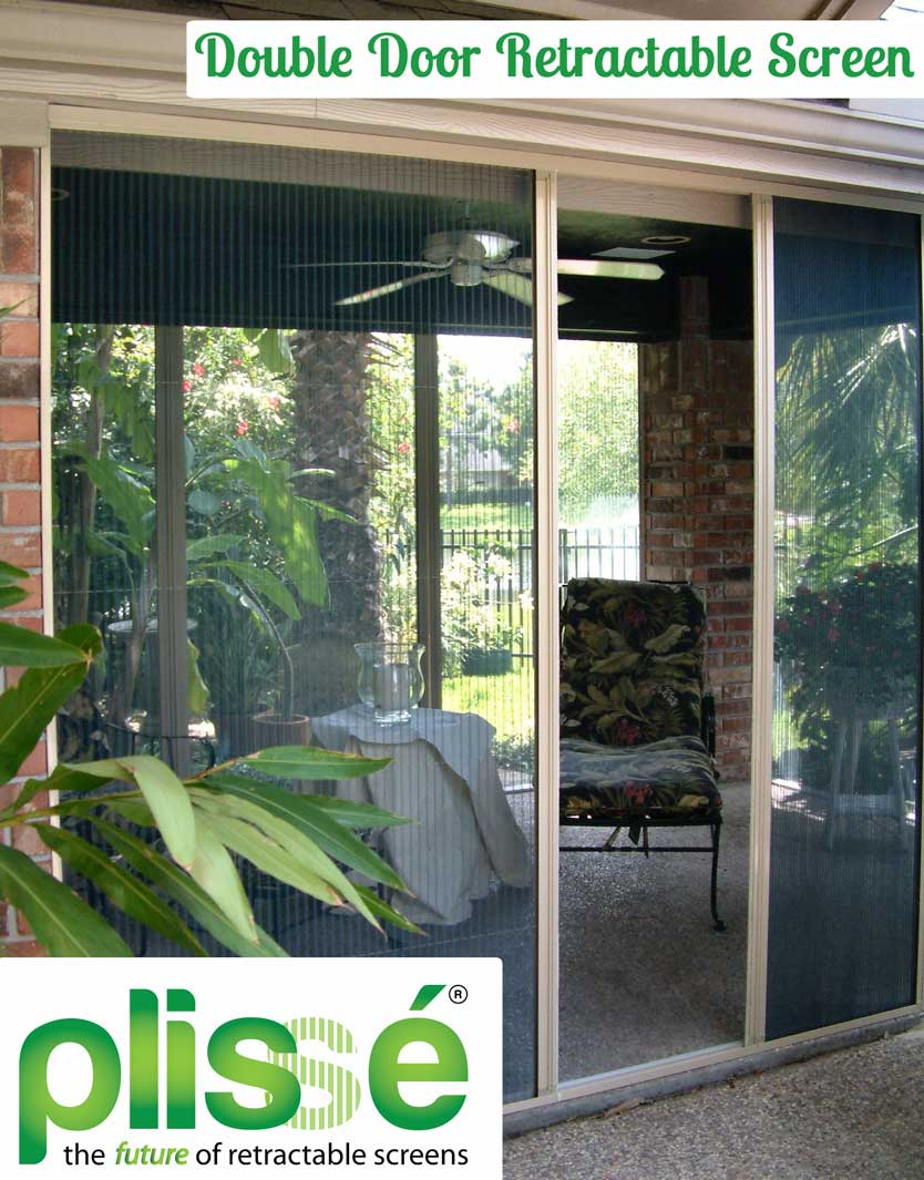 Pliss retractable screens release double door for Retractable screen solutions