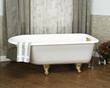 "Barclay cast iron roll top tub, 55"", 7"" holes, white, pol brs feet CTR7H54-WH-PB"