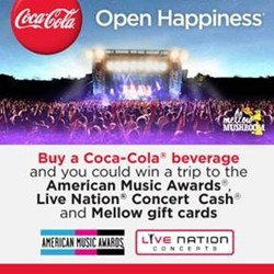 "Coke, ""American Music Awards"", ""Mellow Mushroom"", pizza, music, instant win"