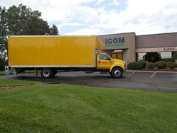 A 2014 F-650 outside Icom headquarters after installation of the company's propane liquid injection system. The truck will be delivered to customer DHL contractor AAUSTIN Express.