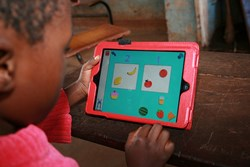 A child using the Masamu maths app
