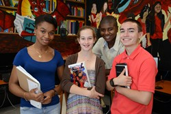 Palm Beach Country, Florida students participated in the Future Authors Project: 1. ( l to r) Modeline Celestin, Glades Central High School; Zoe Gibson, Bak Middle School of the Arts; Gary Merisme, Atlantic High School (back); and Julian Pollifrone, South