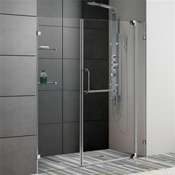 "Vigo VG6042BNCL60 60-inch Frameless Shower Door 3/8"" Clear Glass Brushed Nickel Hardware"