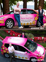 Two of Nurse Next Door's famous pink cars can be seen driving around the Seattle area.