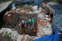 Adventures in Preservation jammers work at ruins of the Fairfield Plantation in Virginia