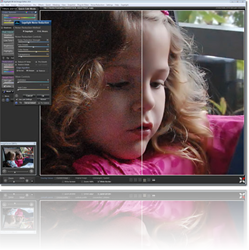 Using Sagelight's Noise Reduction (right-side image), the result is a clear, clean image much more suitable for printing, personal libraries, or posting on the web.