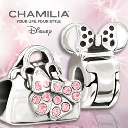 Image of two sterling silver disney beads one featuring mickey mouse ears and the second minnie mouse handbag.
