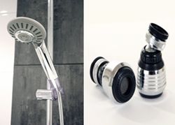 AGUAFLUX low flow shower head (left) and kitchen tap aerator.
