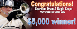 Grappone, Grappone Cares, The Spartans, Spartan Drum and Bugle Corp, Toyota Match