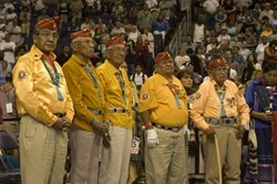 Photo of the Navajo Code Talkers 26 July 2001 when President George W. Bush gave them the Congressional Gold Medal for their Acts of Valor.