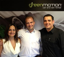Founder of Green Motion Car and Van Rental Richard Lowden, with Brenda Azua and Dennis Perez of Green Motion Costa Rica.