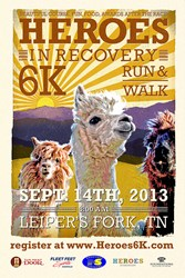 Heroes in Recovery 6k Run/Walk Saturday July 14 in Leiper's Fork TN