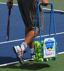 Hop-a-Razzi, the patented hopper with built-in wheels, is the new practice partner of tennis pros competing at The Western & Southern Open in Cincinnati this week.
