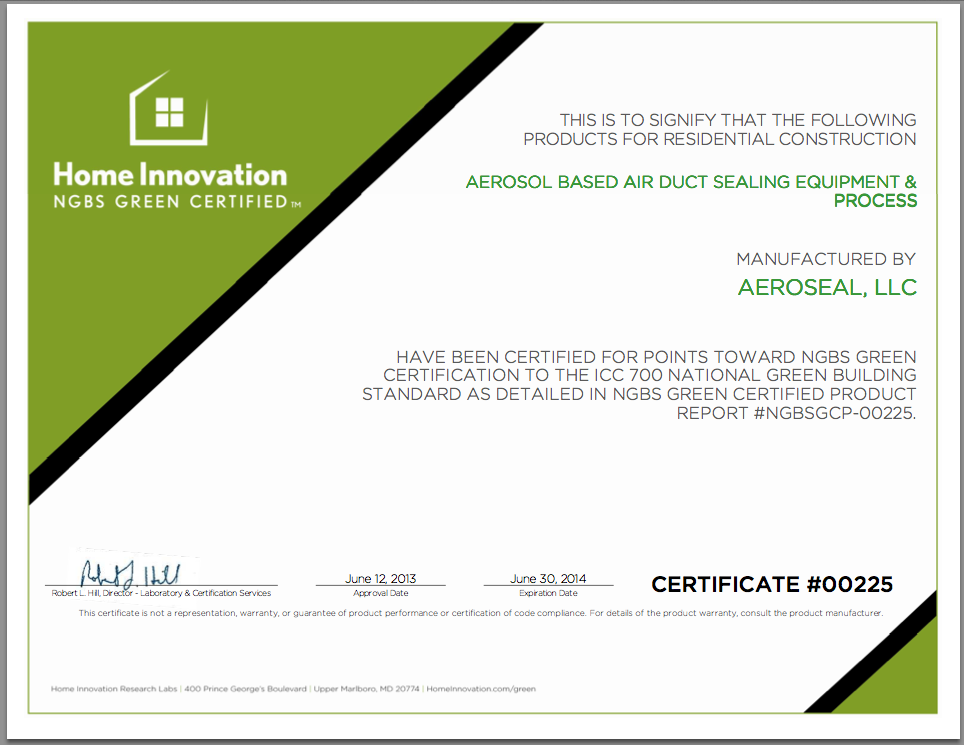 Aeroseal Receives Ngbs Green Product Certification