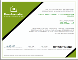 duct sealing green building certificate