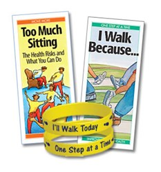 """Too Much Sitting"" and ""I Walk Because ..."" pamphlets and ""I'll Walk Today! One Step At a Time!"" wristband"