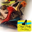 "Poster shoeing beautiful, changeable shoe covers ""Stepp Pretty Shoe Glovez™"" from The Slip-Ons Collection"