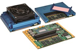 XCOM-6400 COM Express module with removable SODIMM hold-down latch and optional active heat sink with fan
