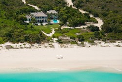 An aerial view of the 18 acre, beachfront, Amazing Grace estate.