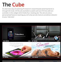 The Cube holds four rotating incentivized ads to choose from