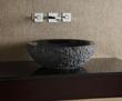 GRVE172CBKR - Round Stone Vessel - Black Granite (rough exterior) - Xylem